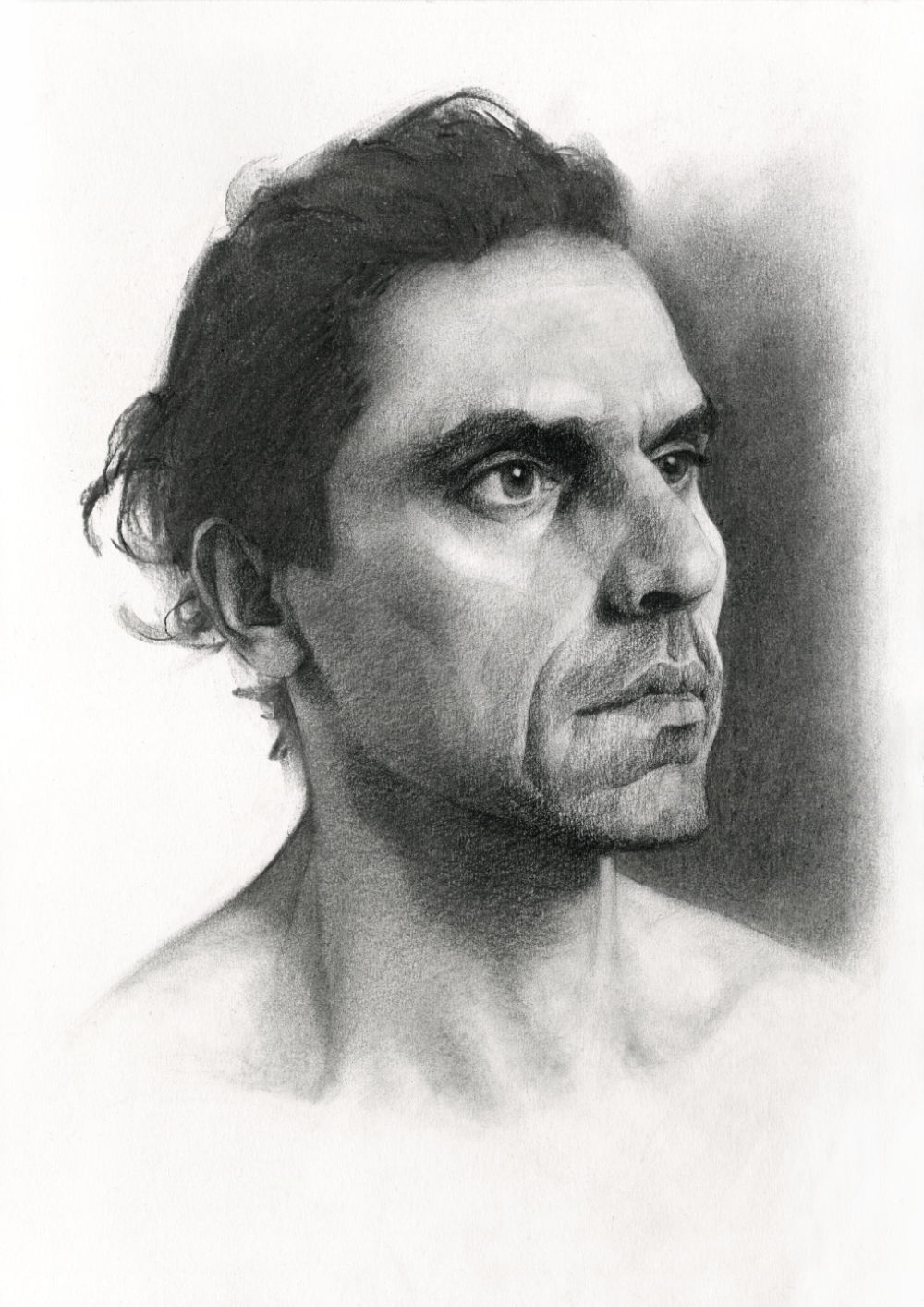 Portrait Drawing in Charcoal on Paper, by Artist & Illustrator James Martin